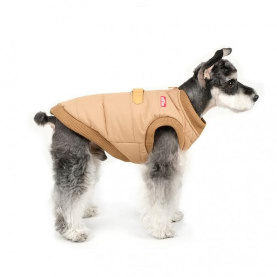 Doudoune / harnais zippée et imperméable – intérieur moumoute - beige
