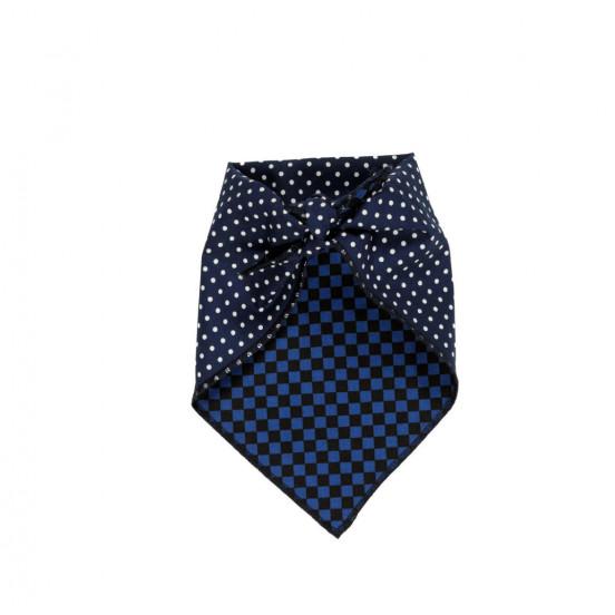 bandana pour chien bleu et pois - coton