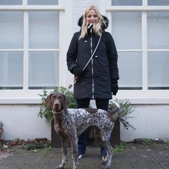 Laisse pour chien multiposition Clic - beige finitions cuir