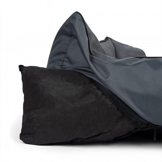 Panier pour Chien Classique en Nubuk Doux et Cosy Déhoussable - bicolore gris