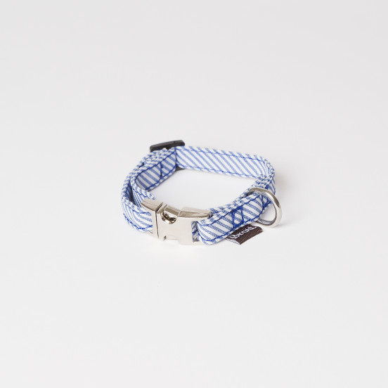 Collier pour Tout Petit Chien Fait Main Calafell - Rayures bleues