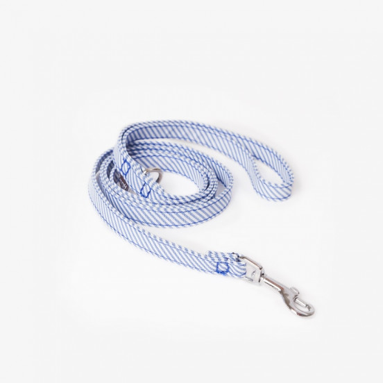 Laisse pour Tout Petit Chien Fait Main Calafell - Rayures bleues