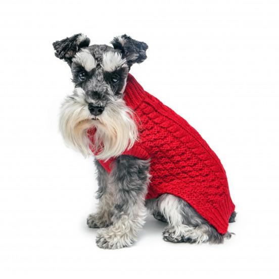 Pull pour chien Tricot Coloré Sans Manches avec Col Roulé - rouge