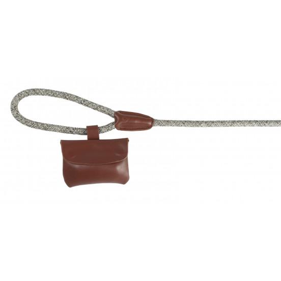 Pochette cuir sac à crottes - marron
