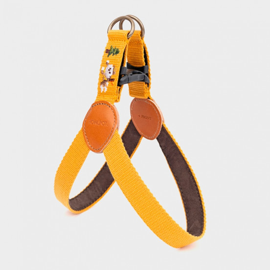 Harnais pour chien Coton et Cuir Facile à Attacher - Dessin Sahara - jaune
