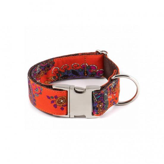 Collier pour chien Fait Main Motifs Floraux Batea - orange