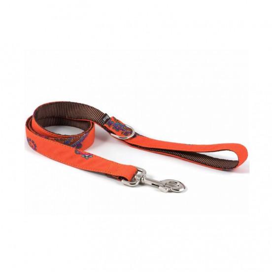 Laisse pour chien Faite Main en Tartan Motif Floraux Batea - orange