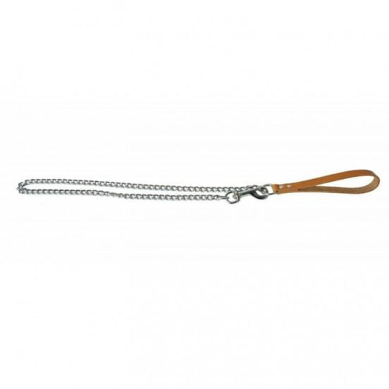 Laisse chaîne pour chien et poignée en cuir solide et élégante - camel
