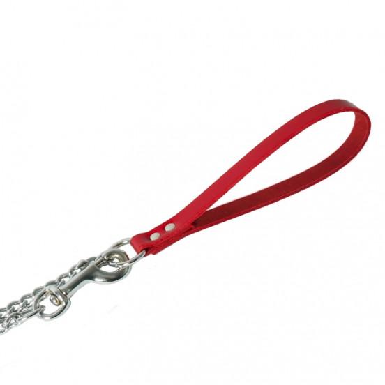 Laisse chaîne pour chien et poignée en cuir solide et élégante - rouge