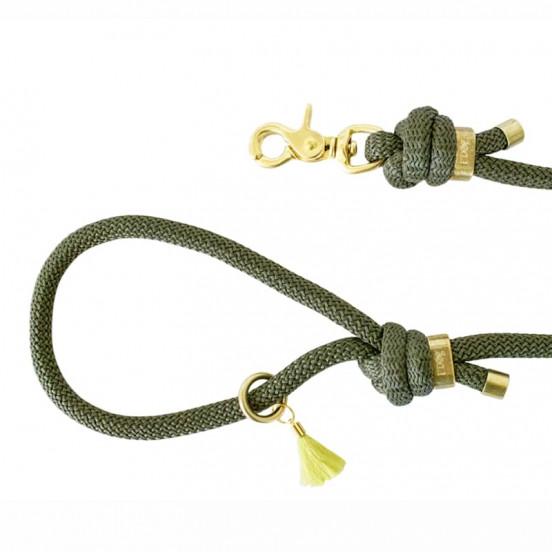 Laisse en corde colorée F'Dog fabriquée en France - kaki