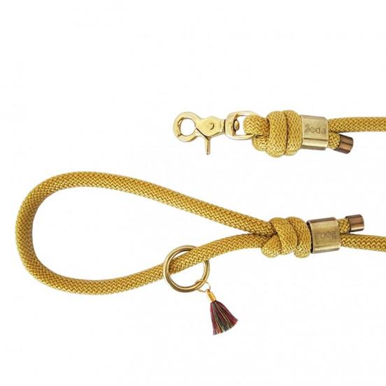 Laisse en corde colorée F'Dog fabriquée en France - moutarde