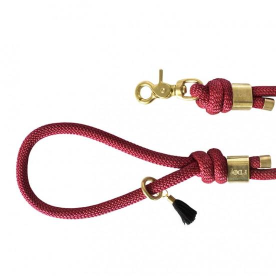 Laisse en corde colorée F'Dog fabriquée en France - framboise